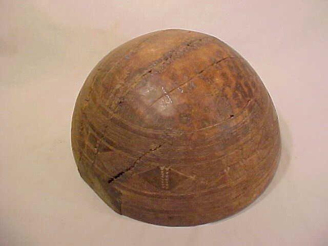 139: AFRICAN CARVED WOOD CALABASH BOWL  - 2