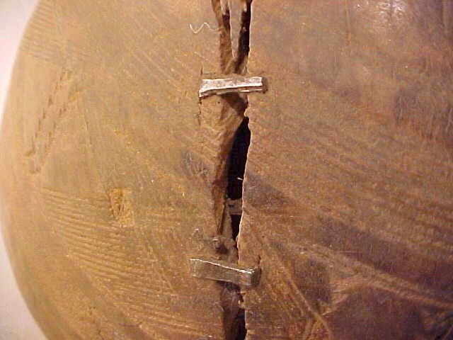 139: AFRICAN CARVED WOOD CALABASH BOWL  - 4