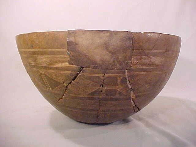 139: AFRICAN CARVED WOOD CALABASH BOWL  - 5