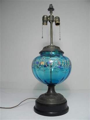 VICTORIAN BRISTOL ENAMELED BLUE ART GLASS TABLE LAM