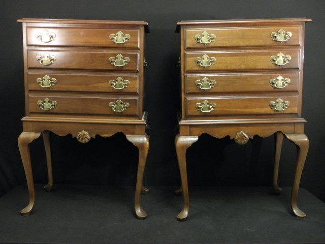 18: PAIR MAHOGANY FINISHED FOUR DRAWER SILVER CHESTS
