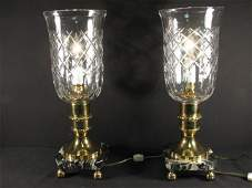 129: PAIR CUT CRYSTAL & MARBLE HURRICANE STYLE LAMPS
