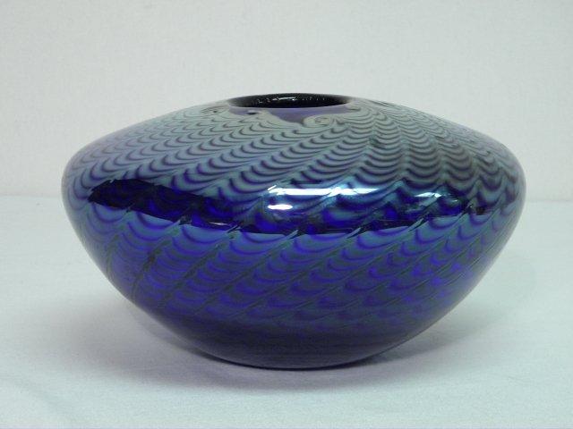 301: BRUCE FREUND PULLED COBALT ART GLASS VASE