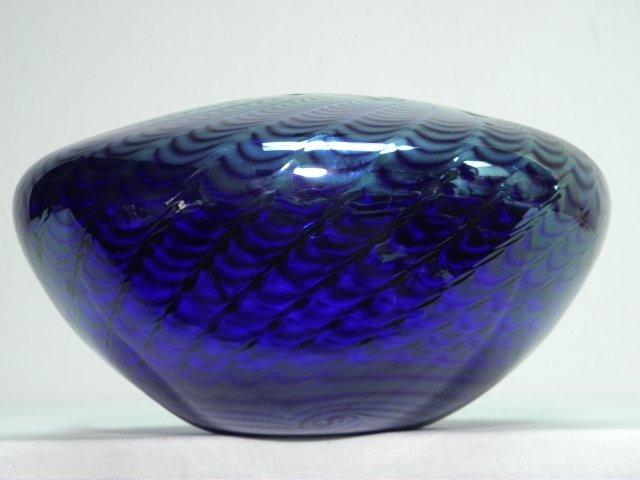 301: BRUCE FREUND PULLED COBALT ART GLASS VASE - 2