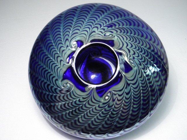 301: BRUCE FREUND PULLED COBALT ART GLASS VASE - 3
