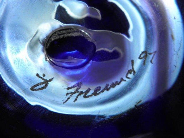 301: BRUCE FREUND PULLED COBALT ART GLASS VASE - 7