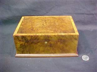 BURLED WOOD INLAID BANDED EDGE BOX