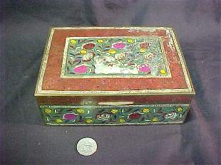 PAINTED BRASS WOOD LINED BOX