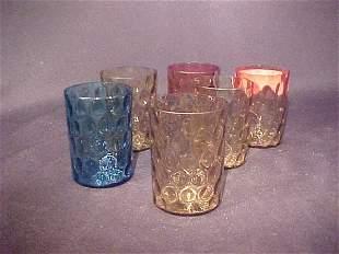 6 COLORED GLASS THUMBPRINT TUMBLERS