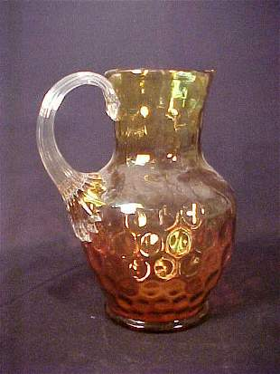 COLORED GLASS THUMBPRINT WATER PITCHER