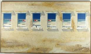 WALTER CADE III MIXED MEDIA ON CANVAS PAINTING: WINDOWS