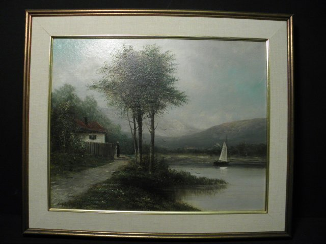 JAY C. TAYLOR OIL ON CANVAS PAINTING: COASTAL VIEW