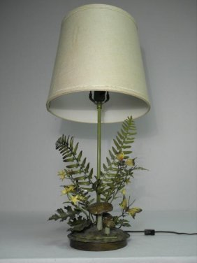 FLORAL TOLE PAINTED TABLE LAMP