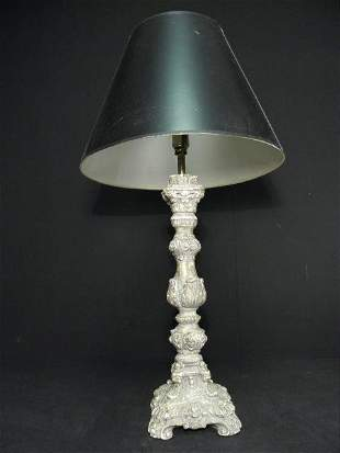 BAROQUE STYLE FAUX FINISH CANDLESTICK TABLE LAMP