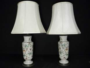 PAIR BRISTOL HAND PAINTED GLASS VASES AS TABLE LAMPS