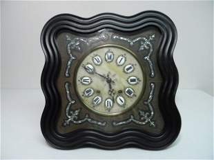 ANTIQUE ALABASTER & MOTHER OF PEARL INLAY WALL CLOCK