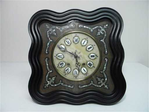 Antique Alabaster Amp Mother Of Pearl Inlay Wall Clock