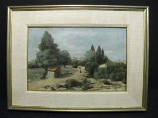 """OIL ON CANVAS LANDSCAPE PAINTING SIGNED """"ROUBAUD"""""""
