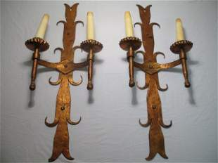 PAIR OF GILT FINISH IRON MEDIEVAL STYLE SCONCES