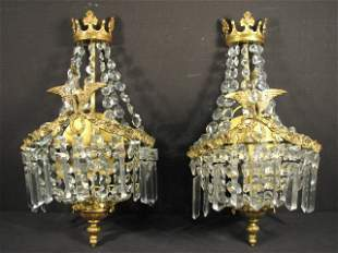 PAIR FRENCH GILT BRASS & CRYSTAL WALL SCONCES