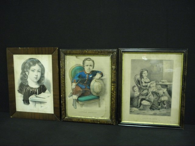 THREE CURRIER & IVES HAND COLORED LITHOGRAPHS