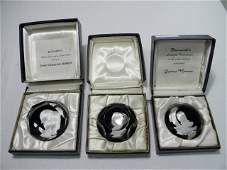 THREE BACCARAT SULPHIDE CAMEO ART GLASS PAPERWEIGHTS