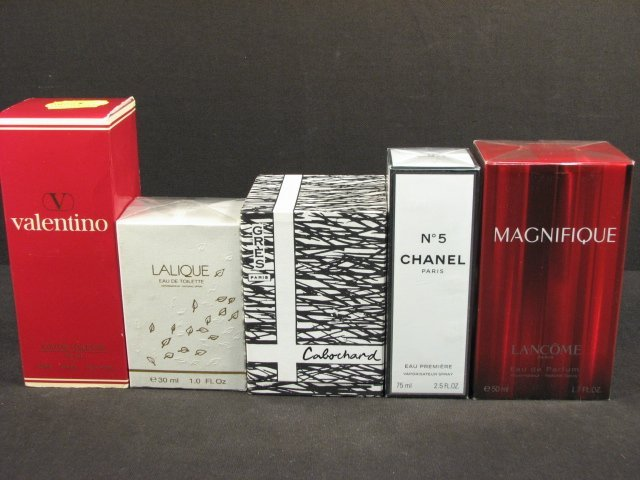 ASSORTED BOXED PERFUMES: CHANEL, VALENTINO, ETC. 5 PCS