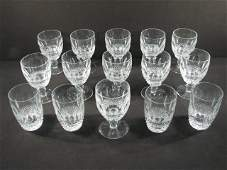 """WATERFORD """"COLLEEN"""" CUT CRYSTAL STEMS & GLASSES: 18 PCS"""
