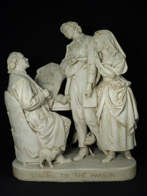 "JOHN ROGERS 19TH C PLASTER SCULPTURE: ""COMING TO THE PA"