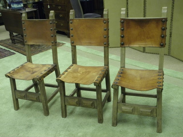 THREE WOOD & LEATHER SIDE CHAIRS