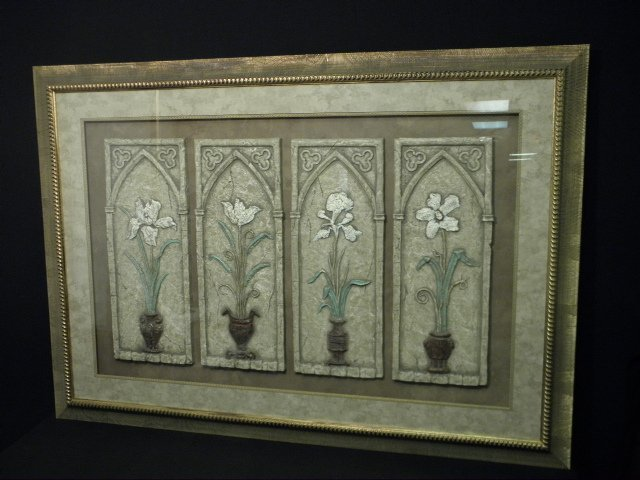 FRAMED FAUX STONE FLORAL DECORATIVE WALL HANGING