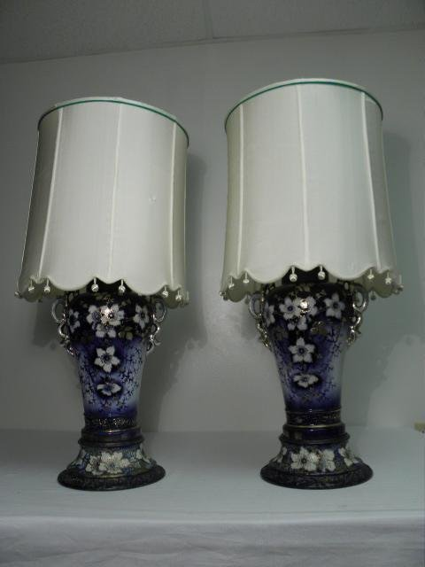 PAIR ENGLISH FLOW BLUE VASES AS TABLE LAMPS
