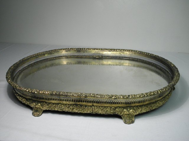 FRENCH VICTORIAN EMBOSSED BRASS MIRRORED PLATEAU