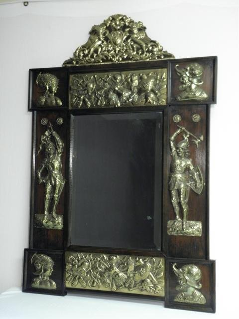 FRENCH MAHOGANY REPOUSSE BRASS BEVELED WALL MIRROR