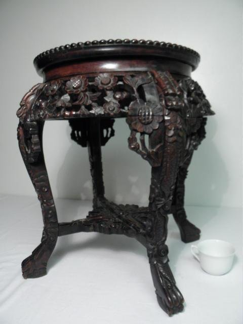 INDO-ASIAN CARVED WOOD & MARBLE PEDESTAL/PLANT STAND - 10