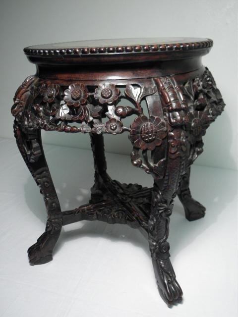 INDO-ASIAN CARVED WOOD & MARBLE PEDESTAL/PLANT STAND