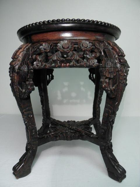 INDO-ASIAN CARVED WOOD & MARBLE PEDESTAL/PLANT STAND - 2
