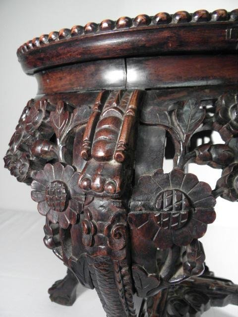 INDO-ASIAN CARVED WOOD & MARBLE PEDESTAL/PLANT STAND - 6
