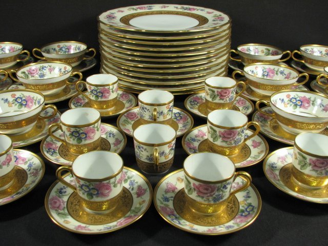TRESSEMANN & VOGT LIMOGES PORCELAIN DINNERWARE: 59 PCS - 2
