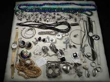 TRAY LOT ASSORTED LADIES COSTUME JEWELRY: 14K, STERLING