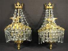 PAIR FRENCH GILT BRASS  CRYSTAL WALL SCONCES