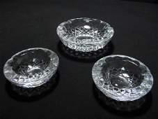 THREE WATERFORD CUT CRYSTAL ASHTRAYS