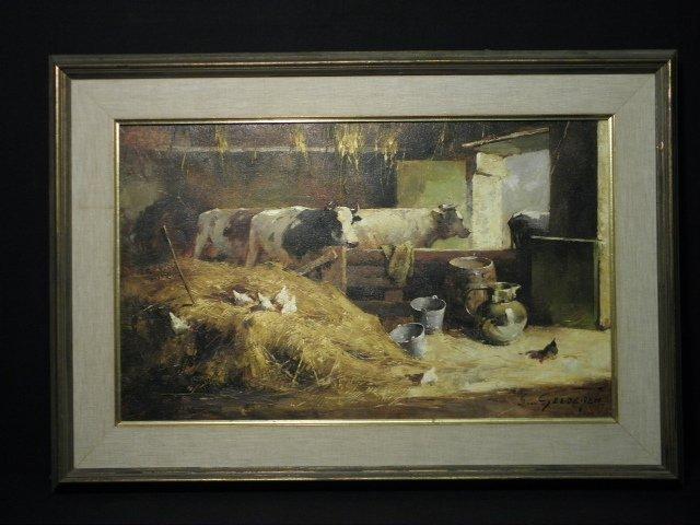 SIMON VAN GELDEREN OIL ON CANVAS PAINTING: BARN INTERIO