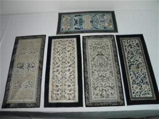 FIVE EARLY 20TH C CHINESE EMBROIDERED SILK MATS