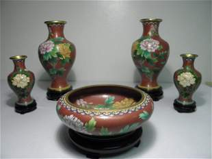 ASSORTED CHINESE IRON RED FLORAL PATTERN CLOISONNE: 5 P