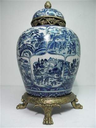 CHINESE BLUE & WHITE BRASS MOUNTED GINGER JAR