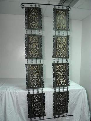 IRON & LEATHER CHAIN LINK WALL HANGING