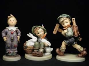 THREE HUMMEL PORCELAIN FIGURINES: CARNIVAL, PLAYMATES,