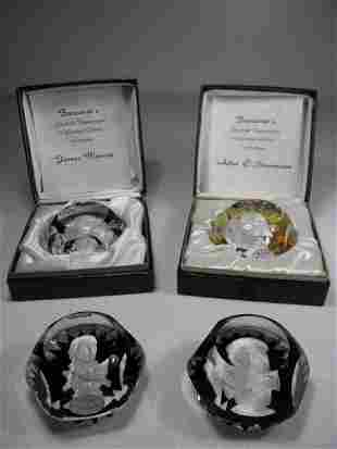 FOUR BACCARAT CARVED SULPHIDE CAMEO PAPERWEIGHTS