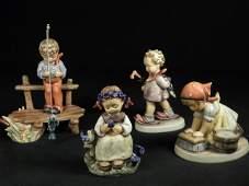 FOUR HUMMEL FIGURINES THE BOTANIST THE PROFESSOR ETC